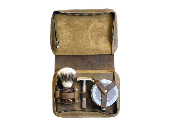 Vintage Style Leather Shaving Case
