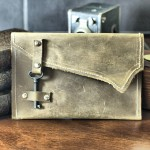 Rustic Leather Clutch with Skeleton Key