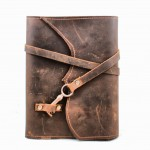Nottinghill Refillable Leather Journal with Antique Key - Chocolate Brown