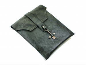 Leather Messenger Bag with Antique Key