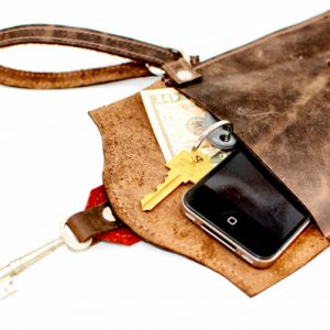 Edinburgh Leather Clutch With Antique Key
