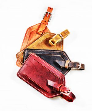 Monogrammed Leather Luggage Tag by Divina Denuevo