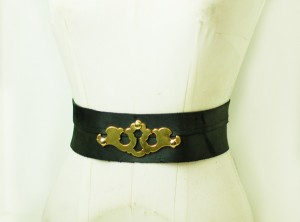Black Leather Belt with Gold Keyplate