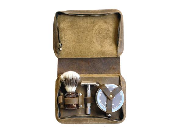 Vintage Style Leather Shaving Case