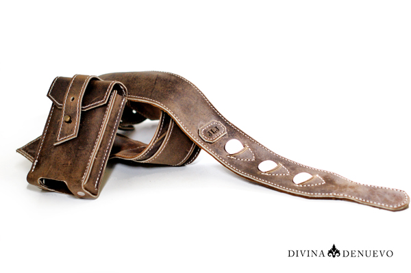Leather Guitar Strap with Wireless Pack Pocket