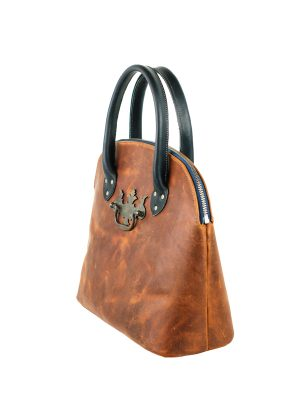 Leather Bowling Bag Purse