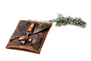 Leather Waist Pouch with Antique Skeleton Key