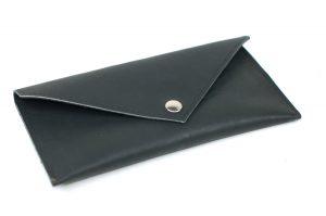 Black Leather Clutch - Classic Envelope Clutch - Little Black Wallet - Everyday Clutch Purse