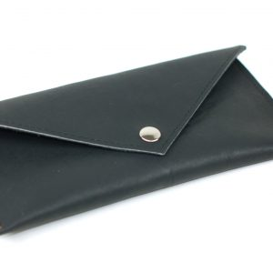 Black Leather Clutch - Classic Envelope Clutch - Little Black Wallet - Everyday Clutch Purse