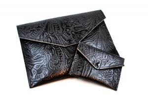 Black Floral Leather Wallet