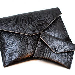 Black Floral Leather Wallet