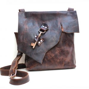 Leather Bag with Skeleton Key