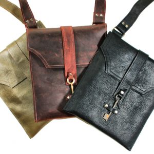 Leather Messenger with Antique Key