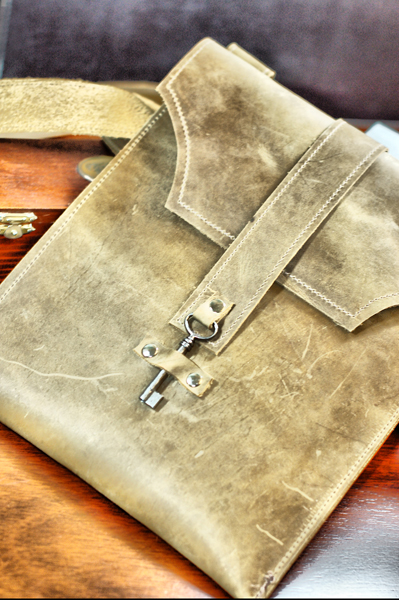 220d951497 Distressed Leather Messenger Bag · Tan Brown Leather iPad Case