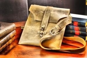 Leather Bag with Skeleton Key