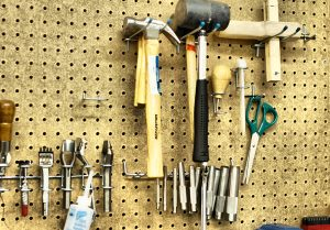 Our tools used to be kept in jars, and any other odd containers we could find, and then would be left strewn across the worktop (which was, if you all recall our humble origins, Dave's kitchen counter). This pegboard is a lifesaver, because now we can find things when we need them! It also means we can no longer accuse gremlins for things that go missing.