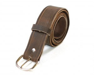 Distressed Brown Leather Belt
