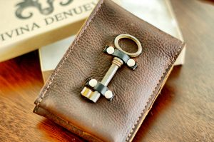Leather Wallet with Skeleton Key