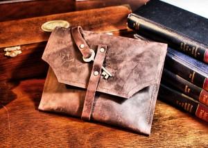 Burgundy Leather Mini Clutch Distressed