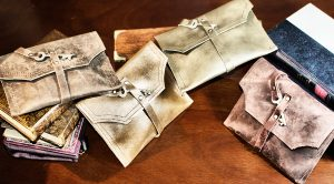 Leather Clutches with Antique Keys