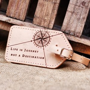 Laser Engraved Leather Luggage Tag