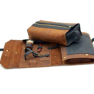 Leather Shaving Kit and Dopp Bag