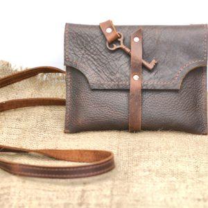 Steampunk leather purse