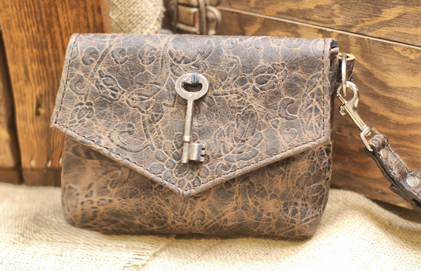 Damask Leather Clutch