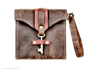 Leather Clutch with Skeleton Key