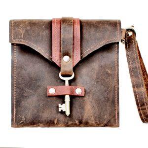 Leather Clutch with Skeleton Key