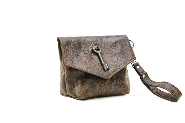 Damask Print Leather Purse