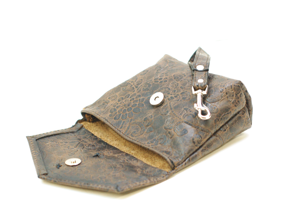 Damask Leather Wristlet