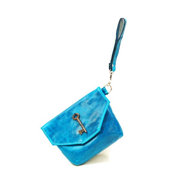 Bright Blue Leather Wristlet