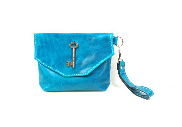 Blue Leather Wristlet