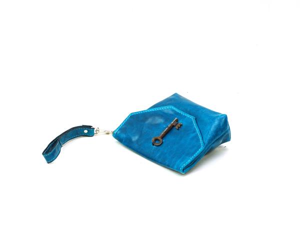 Blue Leather Purse