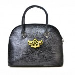 Black Embossed Floral Print Handbag