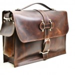 Leather Briefcase in Cognac Leather