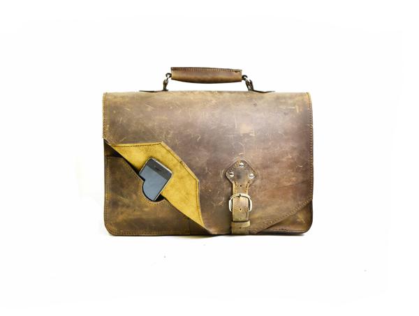 San Francisco Leather Briefcase Book Bag Divina Denuevo