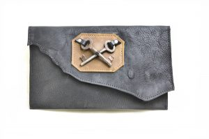 Leather Purse with Skeleton Key