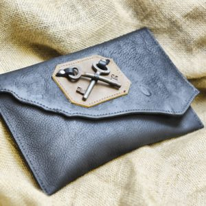 Steampunk Leather Clutch
