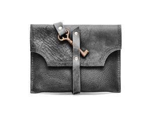 Black mini clutch with key