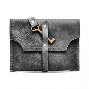 Black mini clutch with key